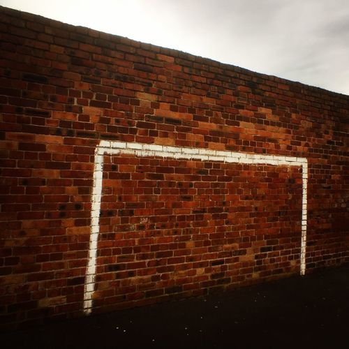 Brick Wall Wall - Building Feature Brick Architecture Built Structure No People Building Exterior Outdoors Day Sky Close-up IPhoneography JoMo Photo Goal Football Goal