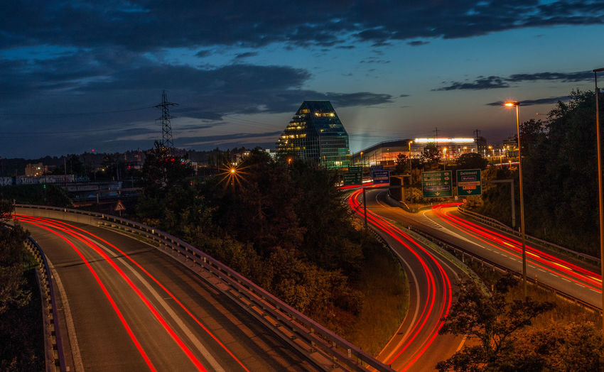 in the night Built Structure City Illuminated Light Trail Night Road Sky Street