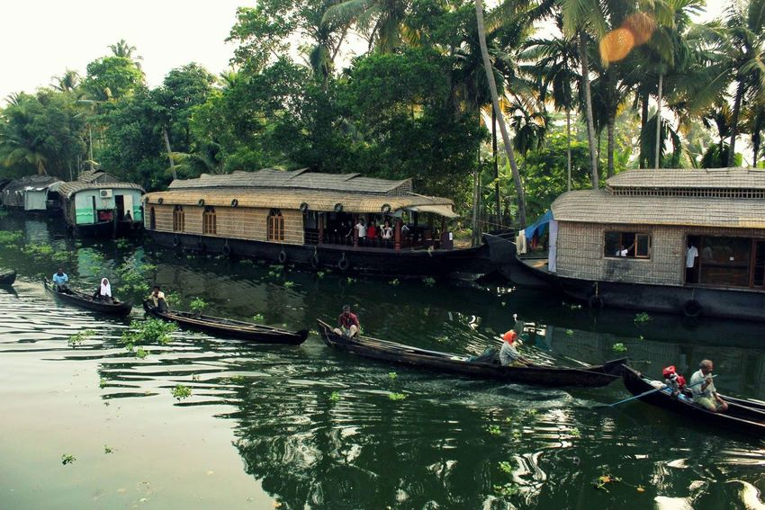 #kerela Back Waters Boat Coconut Tree House Boat Men Outdoors Reflection River Water Waterfront