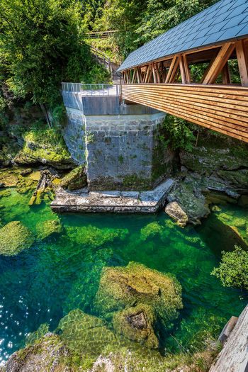 Traunfall Architecture Bridge Bridge - Man Made Structure Built Structure Connection Day Flowing Water Footbridge High Angle View Land Nature No People Oberösterreich Outdoors Plant River Rock Solid Sunlight Tranquility Tree Upperaustria Water