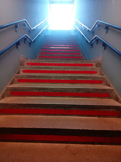 Steps And Staircases Staircase Steps Railing Built Structure The Way Forward Day Misterious Mistery Train Station Red Steps Start Starting A Trip Light Colour