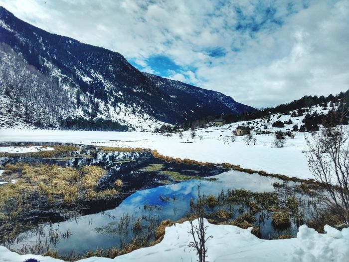 Road Tranquil Scene Estanylallebreta Snow Mountain Cold Temperature Reflection Lake Landscape Nature