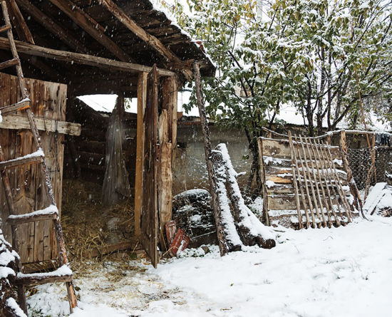 Snowy Village Life Barn Beauty In Nature Built Structure Cold Temperature Fencing Hay Ladder Nature Outdoors Scenics Snowing Snowy Sünnet Sünnetköy Tree Turkey View Village Life Winter Wood - Material
