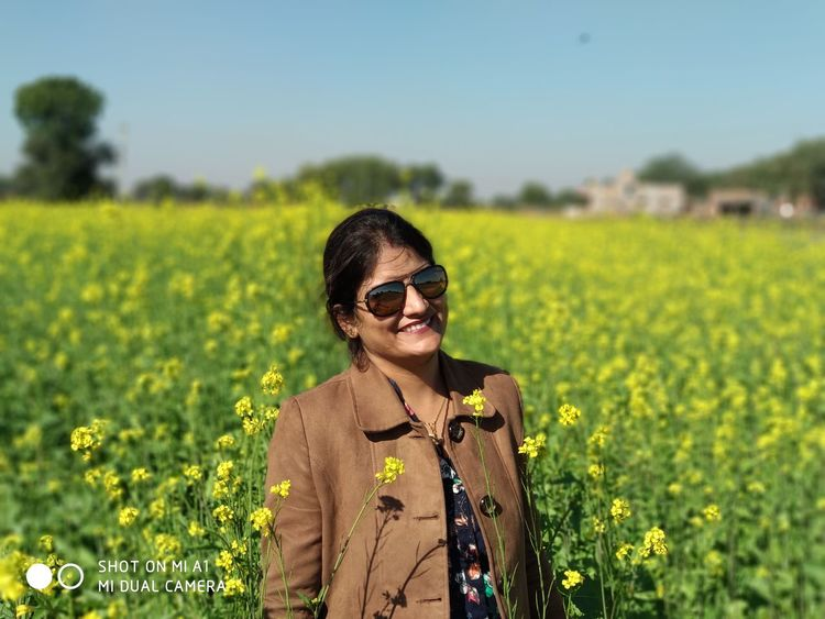 indian beauty Mustard Fields Only Women Focus On Foreground Sunglasses Outdoors