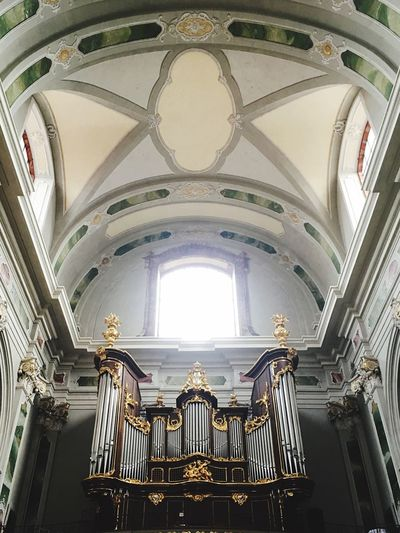Religion Indoors  Low Angle View No People Place Of Worship Built Structure Spirituality Architecture Day Decorative Art Mannheim Place Of Worship Belive Pastor God Jesuitenkirche History Low Angle View Architecture Dome Orgel Organ