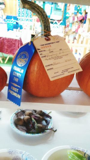 My son wins first prize for his pumpkin he grew w. His papa :-)