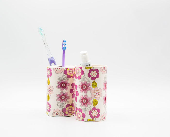 Close-up Day Desk Organizer Indoors  Multi Colored No People Studio Shot Toothbrushes Toothpaste White Background
