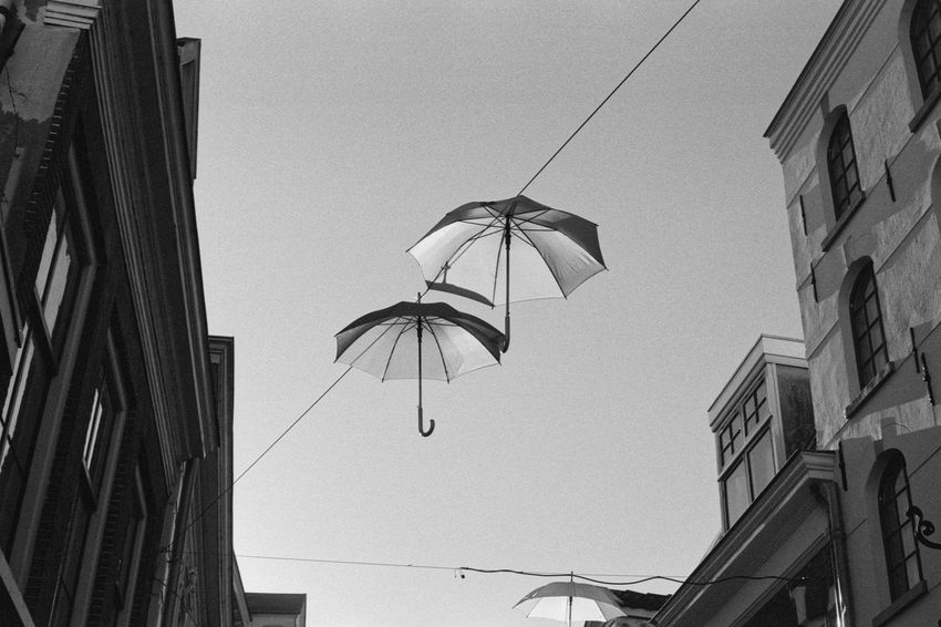 Hanging Umbrellas 35mm 35mm Film Analog Black & White Blackandwhite Building City City Life Film Hanging ID-11 Ilford HP5 Plus Objects Shopping District Street Umbrella Urban