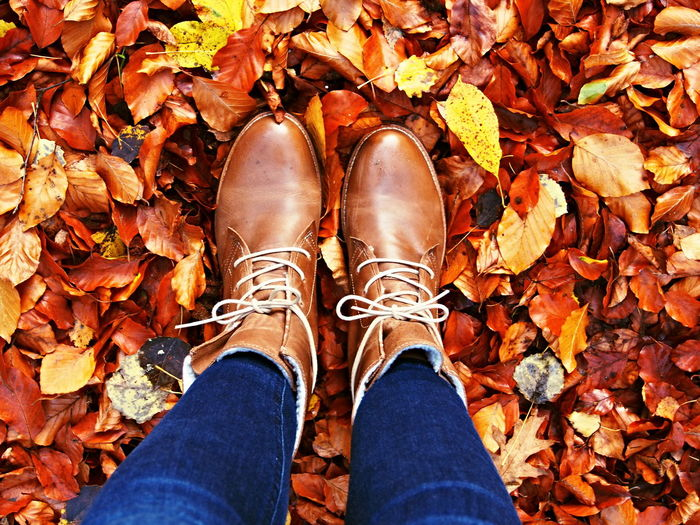Low section of woman standing on autumn leaves