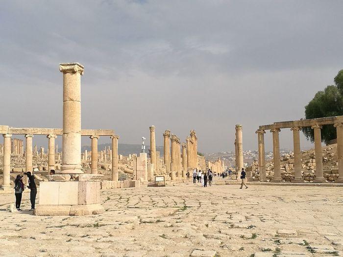 Columns Men Industry Sand Architectural Column Sky Architecture Built Structure