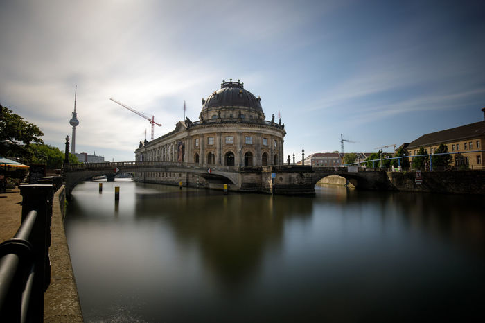 Architecture Berlin Bodemuseum Building Exterior Built Structure City Day Dome History Long Exposure Nature No People Outdoors Reflection Sky Spree Travel Destinations Water Waterfront