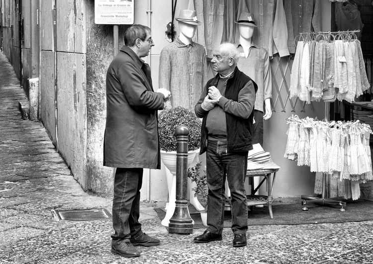 talking people in Italy Two People Men Full Length Males  Senior Adult Real People Adult Casual Clothing People Emotion Positive Emotion Boys Senior Men Leisure Activity Standing Black And White Streetphotography Street Photography Italy