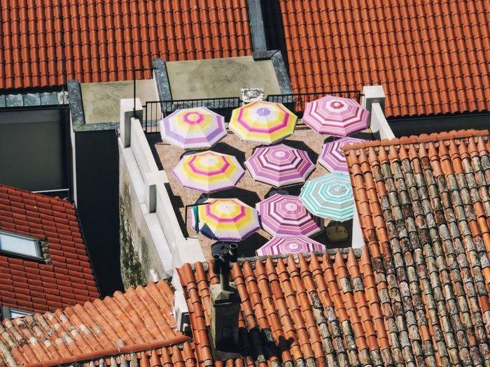 High angle view of multi colored roof outside building