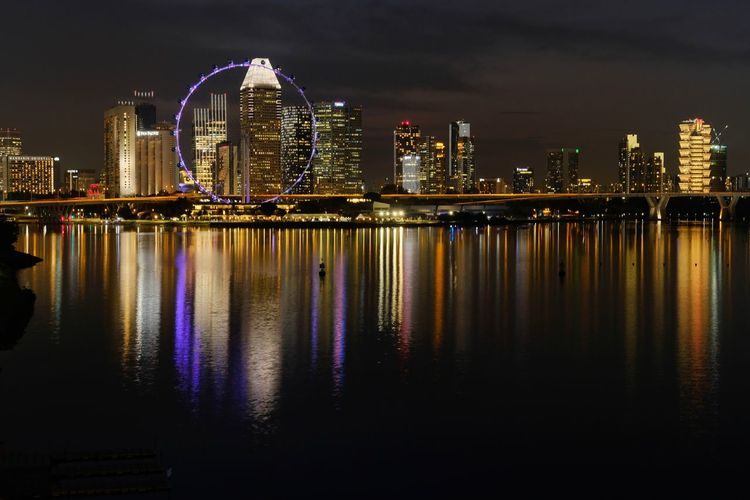 Marina bay with Singapore Flyer Travel Destinations Travel Landscape Holiday Singapore Flyer Singapore Marina Bay City Cityscape Illuminated Ferris Wheel Water Nightlife Tourism International Landmark Tourist Attraction  Famous Place