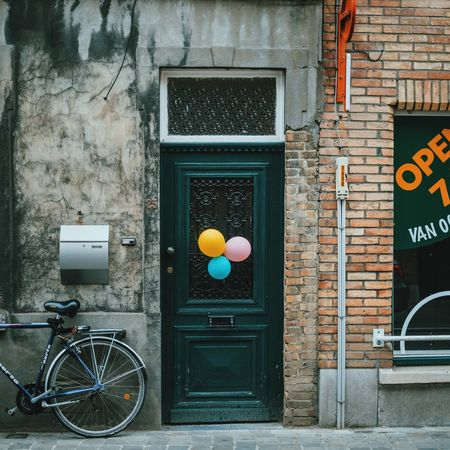 Architecture Baloons Building Exterior Built Structure Closed Door Entrance Guidance House Information No People Old Old-fashioned Protection Safety Sign Text Wall Wall - Building Feature Window
