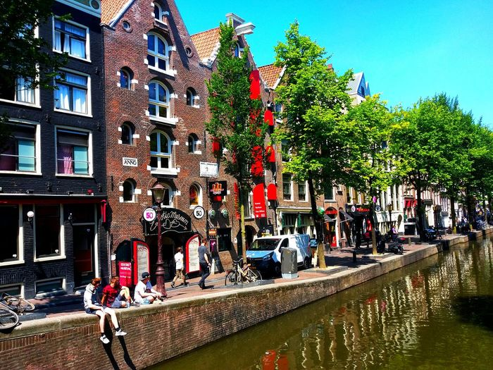 Trip Trip Photo Travel Redlightdistrict Redstreet Redlight Amsterdam Summer Effect Background Summer Colors Tree City Water Window Sky Architecture Building Exterior Built Structure