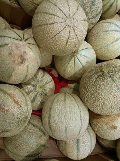 High angle view of melons in supermarket