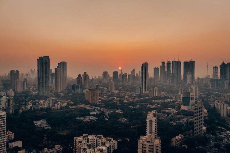 Sunset view of mumbai's iconic skyline