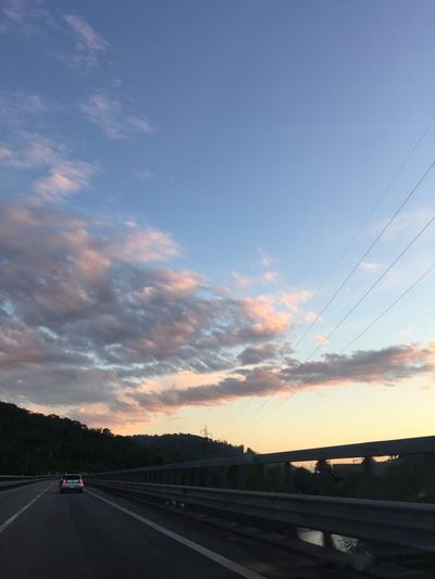 Driving under a stunning sunset...