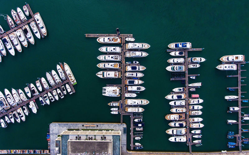 Top View Of Boats Moored At Marina