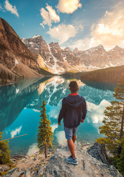The Calmness of the Ten Peaks. Alberta Banff National Park  Landscape_Collection Moraine Lake  Reflection Beauty In Nature Canada Clouds Hiking Landscape Lifestyles Mountain Mountain Range Outdoors Real People Selfie Sunset Tranquil Scene Water