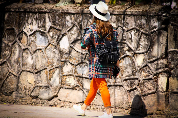 Casual Clothing Bright Colored Clothes Hats Tourist Fashion Contrasts Street Fashion Real People Lifestyles One Person Standing Leisure Activity Outdoors Day Animal Themes People Walking In The Street Copy Space Minimalism Eyeem Philippines EyeEm Gallery Women Around The World