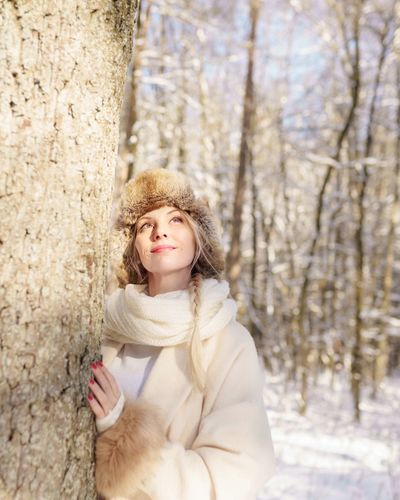 Portrait of woman in snow