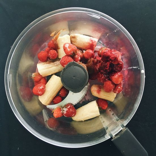 How To Directly Above Food And Drink Food Preparation Food Processor Fruit Ice Cream Recipe Recipe Development Recipe Preparation Recipe Step Strawberry Ice Cream