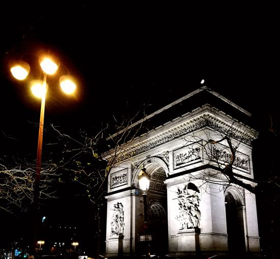 Architecture Built Structure Illuminated Night Triumphal Arch Building Exterior ParisByNight HuaweiP9