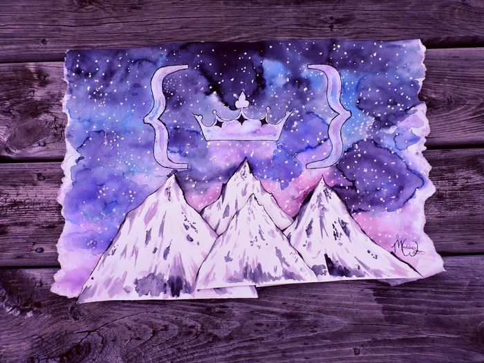 This is a picture of my own artwork and a logo that I created. Art Art, Drawing, Creativity ArtWork Beauty In Nature Blue Close-up Dark Darkness Day Mountain Mountains And Sky Mountains And Stars Nature No People Painting Painting Art Purple Season  Stars Stars & Dreams Watercolor Watercolor Painting Weather White Wood - Material