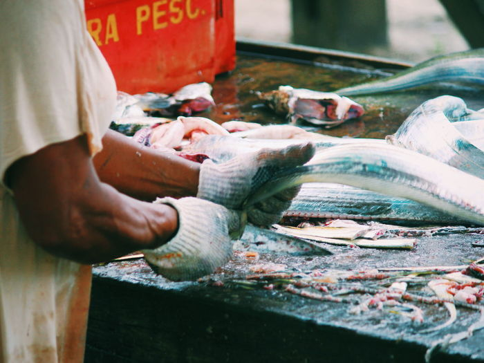 Midsection of person holding raw fish at market