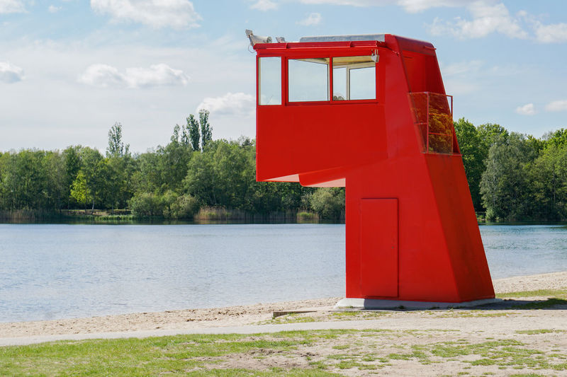 lifeguard tower Tree Nature Day No People Outdoors Red Water Lake Security Safety DLRG Bathing Lake Germany Beach Tower German Life Saving Association Lifesaving Lifeguard  Swimming Swim