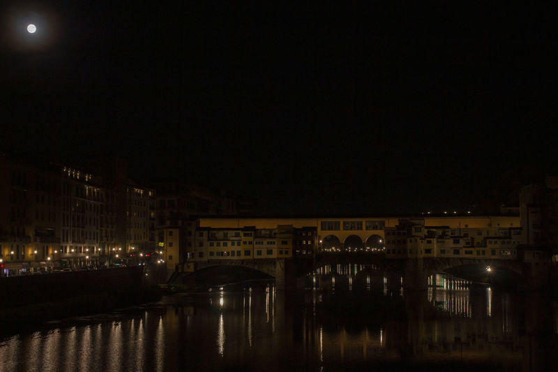 Architecture Bridge Pontevecchiofirenze Night Water River Arno River Reflection Dark Town