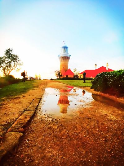 Sydney Lighthouses Water Reflection Outdoors Tree Built Structure Architecture No People Puddle Nature Lighthouse Lighthouse_lovers Lighthousephotography Thegirlintheredshoes