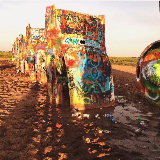 Resist Amarillo, TX Cadillac Farm Graffiti Multi Colored EyeEmNewHere Sunset Dirt Decay