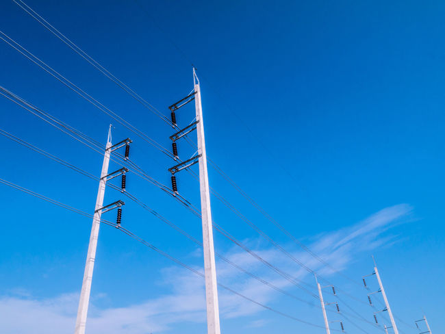 Blue Cable Cloud Cloud - Sky Day Development High Section Low Angle View Nature No People Outdoors Pole Power Supply Sky Tall - High