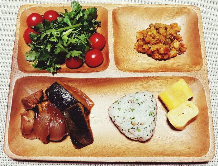 夜ご飯🌙2017.04.04 Food Plate Frijole Frijoles 煮物 Cooked Beans Tomate Boiled Pumpkin Egg 卵焼き おにぎり Onigiri Coriander 梅干し