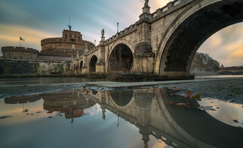 Reflection of arch bridge in lake