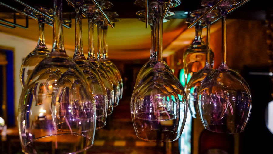 Hanging Arrangement Bar Counter Bieszczady Choice Close-up Container Decoration Evening Focus On Foreground For Sale Glass Glass - Material Hanging Illuminated Indoors  Light Lighting Equipment No People Retail  Side By Side Still Life Store Transparent Variation