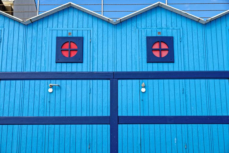 Full frame shot of blue building