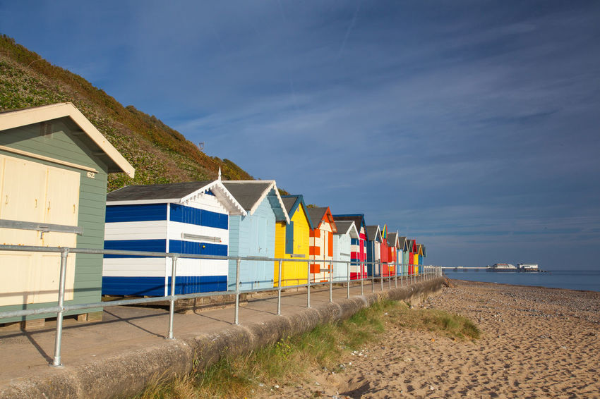 Beach huts on the beach in Cromer, Great Britain Cromer Beach Great Britain Lightouse Morning Light Beach Beach Huts Cromer Cromer Pier Day England Multi Colored Nature No People Ocean Outdoors Relaxation Sand Sea Sky