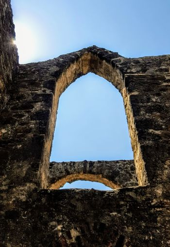 The Sun Over 300 Year Old Arch Arch Old Ruin Architecture History Built Structure Day Clear Sky No People Low Angle View Catholic Arcitecture Spainish Architecture, Spain Old Building  Missions Catholic Place San Antonio, Tx Catholic Old Building  Spanish Culture Building Exterior Texas Sky Low Angle View