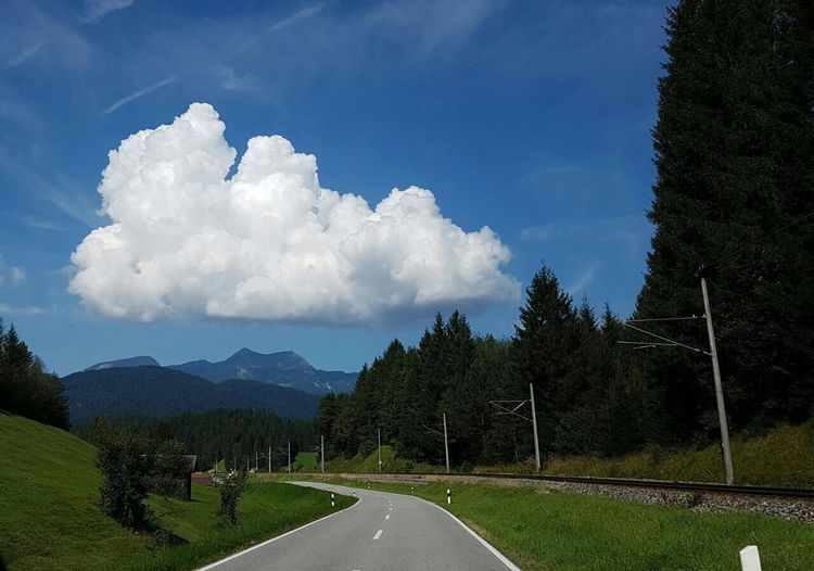 Lonly Cloud Germany Mountains And A Cloud A Cloud In The Middle Of The Road Outdoors Sunny Nature Green Blue Scenery Landscape