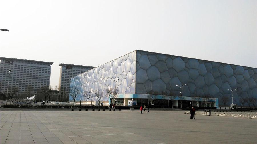 北京水立方 Architecture Building Exterior Built Structure Travel Destinations Outdoors Real People Modern Water Cube Beijing National Aquatics Center