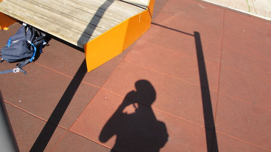 High Angle View Of Shadow Of Person Talking On Footpath During Sunny Day