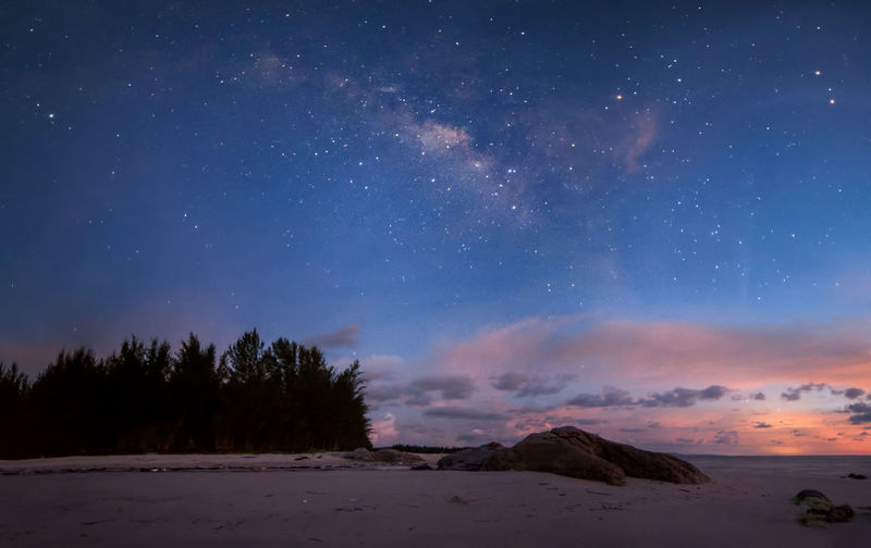 Panorama Milky Way Star - Space Sky Beauty In Nature Scenics - Nature Astronomy Space Tranquil Scene Night Tranquility Galaxy Nature No People Land Star Idyllic Star Field Constellation Non-urban Scene Milky Way Water