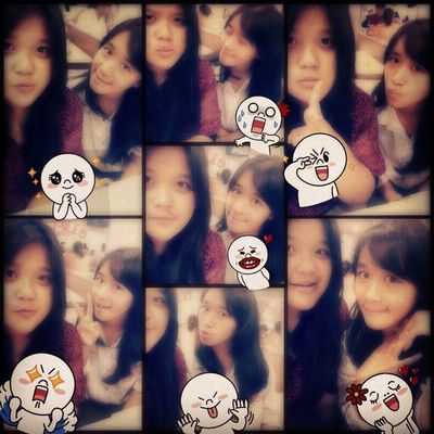 Selca times w/ @chiistin1901 ^^ Me Selca TakeAPhoto Takeaselca today with cristin girls beauty cute nice smile pages line sticker at KFC red blue long black hair indonesian instapict tags4love likeme followme