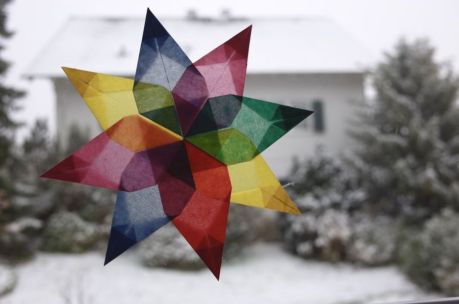 Home made christmas star Christmas Star Decoration Winter Nobody Snow Star Window Christmas Transparentpapier Weihnachten Stern