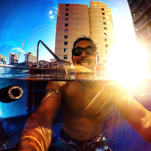 Chilling out in the Pool with a Gopro while in Oahu Hawaii . Loving Life! Activeliving Living Life . Adventure Club