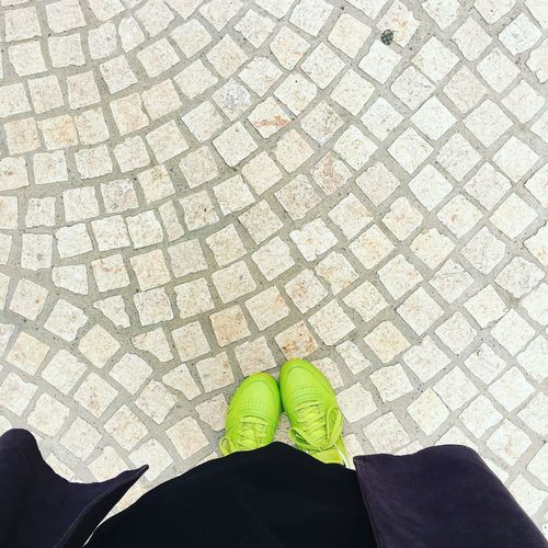 Sous Les Pavés La Plage... Endometriosis Fightlikeagirl Endogirl Butyoudontlooksick Green Shoes Fromwhereistand Body Part Shoe High Angle View Personal Perspective Paving Stone Street Sunlight Standing